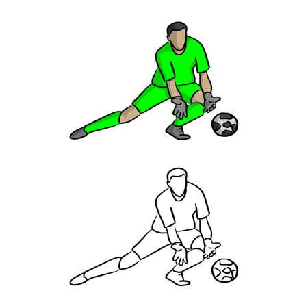 Torhüter im grünen Trikothemd, das Vektorillustrationsskizzen-Gekritzelhand verteidigt, gezeichnet mit schwarzen Linien lokalisiert auf weißem Hintergrund Vektorgrafik