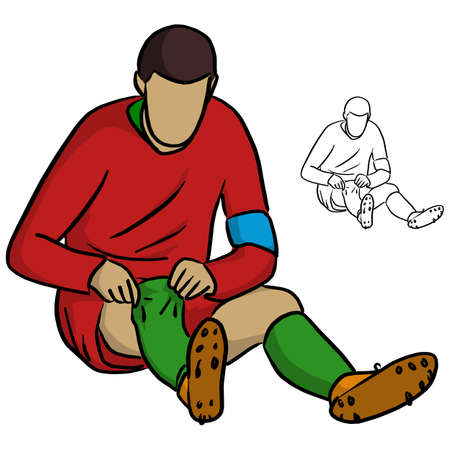 male soccer player in red jersey shirt pulling socks up vector illustration sketch doodle hand drawn with black lines isolated on white background Illustration