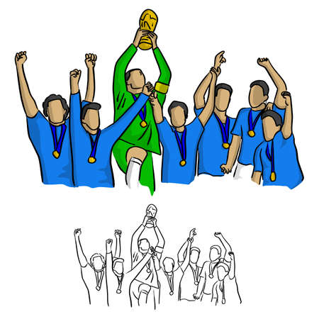 soccer team winner in blue jersey shirt holding goal trophy vector illustration sketch doodle hand drawn with black lines isolated on white background