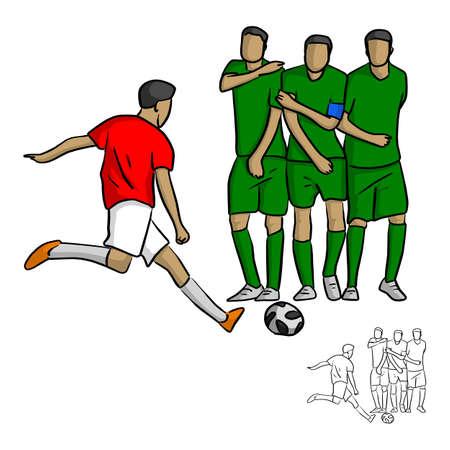 mannelijke voetballer schieten een bal tegen de muur vector illustratie schets doodle hand getekend met zwarte lijnen geïsoleerd op een witte achtergrond