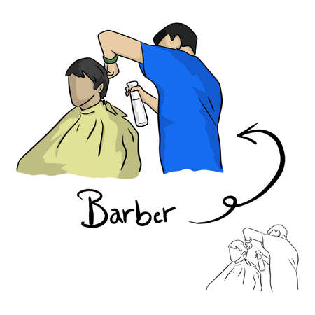 hairdresser cutting hair of male client vector illustration sketch doodle hand drawn with black lines isolated on white background
