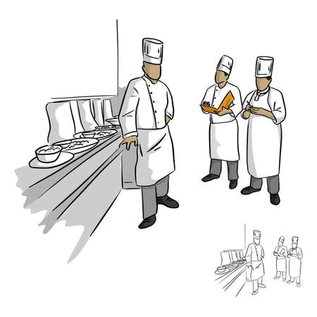 head of chef and his staff in uniform vector illustration sketch doodle hand drawn with black lines isolated on white background Illustration