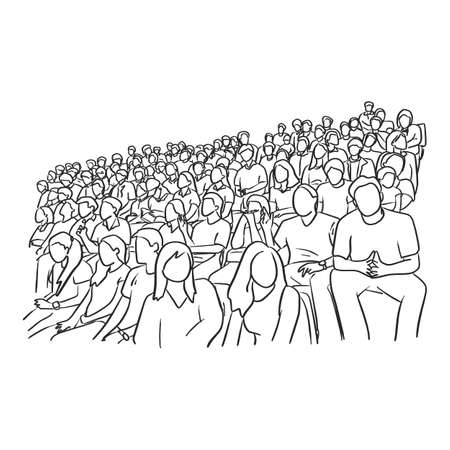 background of people sitting on stadium to cheer their soccer team vector illustration sketch doodle hand drawn with black lines isolated on white background Stock Illustratie