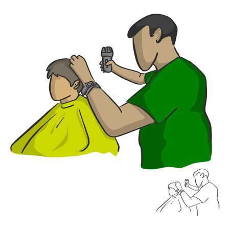 mannelijke kapper knippen haar van een klant vector illustratie schets doodle hand getekend met zwarte lijnen geïsoleerd op een witte achtergrond Vector Illustratie