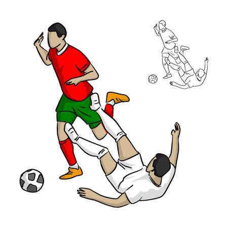 joueur de football s'attaquer à l'adversaire dans le jeu vector illustration croquis doodle dessinés à la main avec des lignes noires isolés sur fond blanc