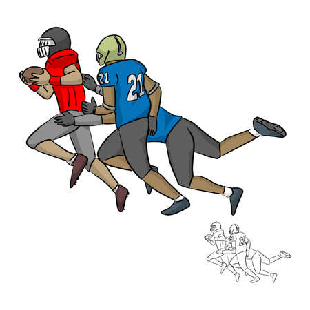 American football players tackling vector illustration sketch doodle hand drawn with black lines isolated on white background