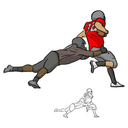 Amerikanische Fußballspieler, die gegnerischen Spieler mit Ballvektorillustrationsskizzen-Gekritzelhand anpacken, gezeichnet mit schwarzen Linien lokalisiert auf weißem Hintergrund