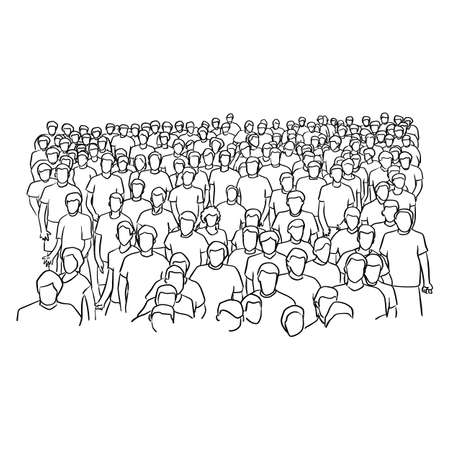 crowd of people standing vector illustration sketch doodle hand drawn with black lines isolated on white background