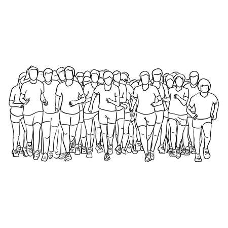 people running together vector illustration sketch doodle hand drawn with black lines isolated on white background