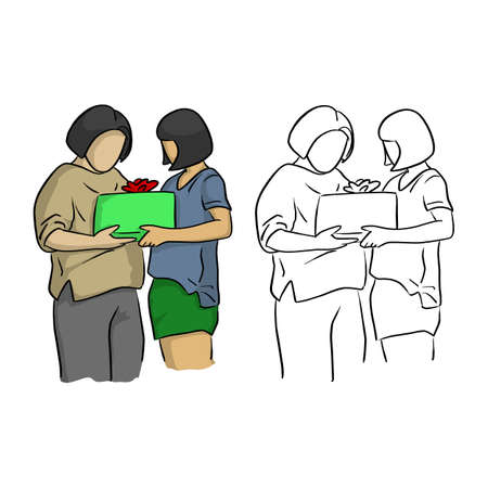 mother and daughter holding package with gift vector illustration sketch doodle hand drawn with black lines isolated on white background