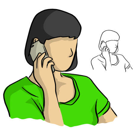 half portrait woman using mobile phone vector illustration sketch doodle hand drawn with black lines isolated on white background Illustration