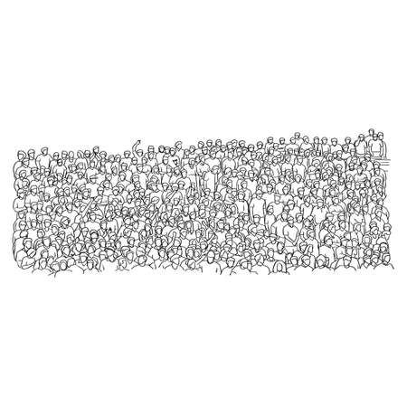 outline crowd of people on stadium vector illustration sketch doodle hand drawn with black lines isolated on white background