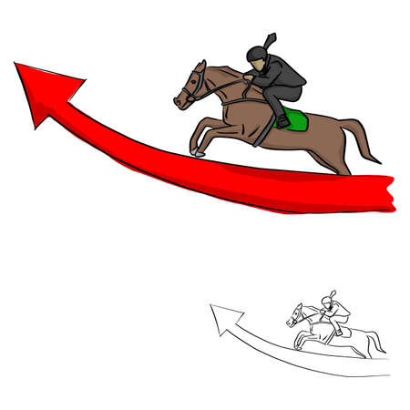 businessman on horseback jumping over the red arrow vector illustration sketch doodle hand drawn with black lines isolated on white background Illustration