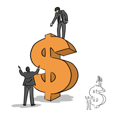 Businessman trying to help his team up to an orange dollar sign vector illustration sketch doodle hand drawn with black lines isolated on white background. Business concept. Illustration