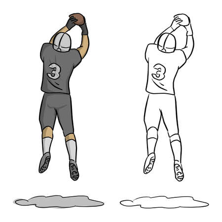 American football player Number three jumping to get the ball in the air vector illustration sketch doodle hand drawn with black lines isolated on white background