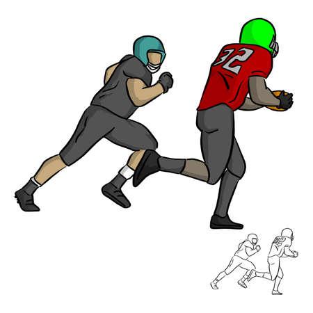 Joueur de football américain en cours d'exécution avec la balle vector illustration croquis doodle dessinés à la main avec des lignes noires isolés sur fond blanc