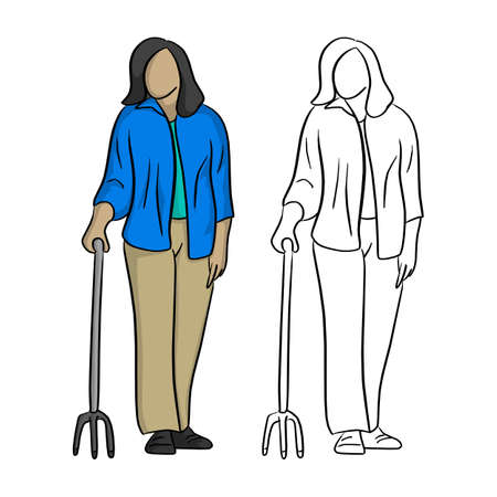 old woman in blue shirt holding a cane vector illustration sketch doodle hand drawn with black lines isolated on white background