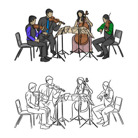 group of musicians playing in quartet vector illustration sketch doodle hand drawn with black lines isolated on white background Illustration
