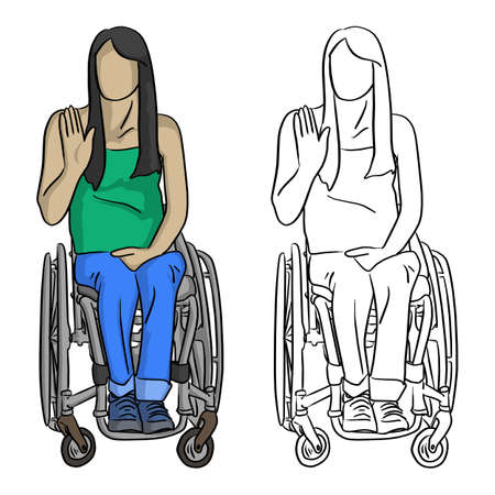 woman sitting in wheelchair with hand gesture vector illustration sketch doodle hand drawn with black lines isolated on white background