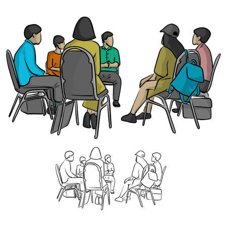 group of teenagers sitting in a circle during consultation with counselor vector illustration sketch doodle hand drawn with black lines isolated on white background 向量圖像