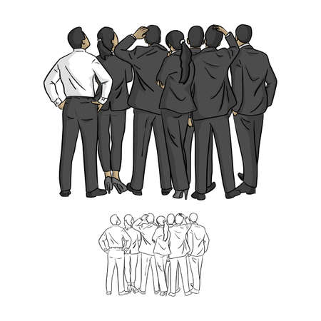 businesspeople looking up at the blank space vector illustration sketch doodle hand drawn with black lines isolated on white background Illustration