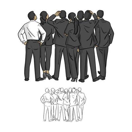 Les gens d'affaires regardant l'espace vide vector illustration croquis doodle dessinés à la main avec des lignes noires isolées sur fond blanc