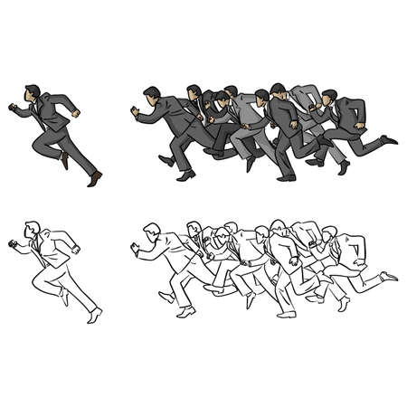businessmen running following their manager vector illustration sketch doodle hand drawn with black lines isolated on white background. Business teamwork concept.