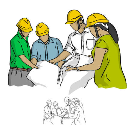 Four construction engineer working in construction site vector illustration sketch doodle hand drawn with black lines isolated on white background Vetores