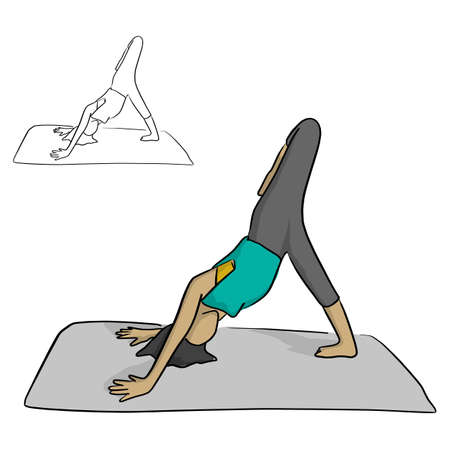 Woman practicing yoga on a gray mat vector illustration sketch doodle hand drawn with black lines isolated on white background
