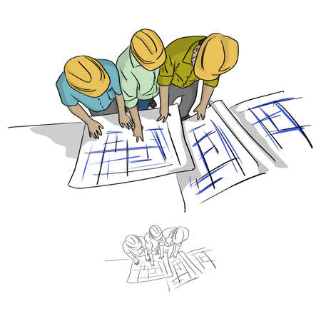 top view three construction engineer looking at blueprint in construction site vector illustration sketch doodle hand drawn with black lines isolated on white background Vetores