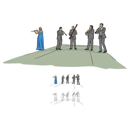 Musicisti del quintetto che suonano musica sul palco vettoriale illustrazione schizzo doodle disegnato a mano con linee nere isolati su priorità bassa bianca