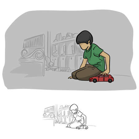boy playing car toy in his room vector illustration sketch doodle hand drawn with black lines isolated on white background