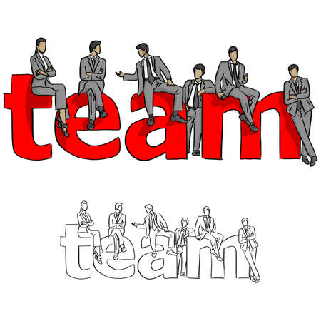 business people with red big word TEAM vector illustration sketch doodle hand drawn with black lines isolated on white background. Teamwork concept. Illustration