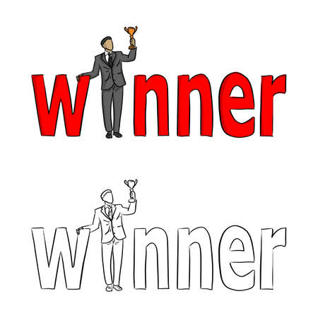 Businessman holding a trophy at the red word Winner