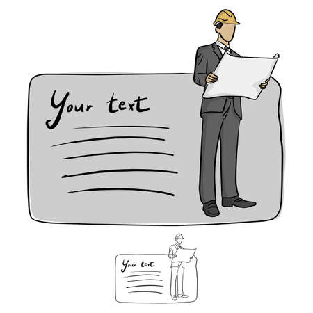 businessman with protective hardhat holding blueprints plans with copyspace vector illustration sketch doodle hand drawn with black lines isolated on white background