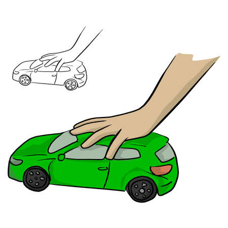 hand of a child playing a green car toy vector illustration sketch doodle hand drawn with black lines isolated on white background