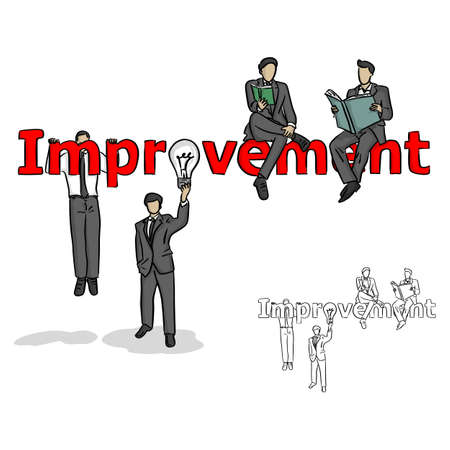 businessman making improvement vector illustration sketch doodle hand drawn with black lines isolated on white background