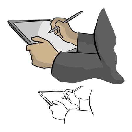 Close-up of hand working with stylus on digital tablet pc vector illustration sketch doodle hand drawn with black lines isolated on white background Illustration