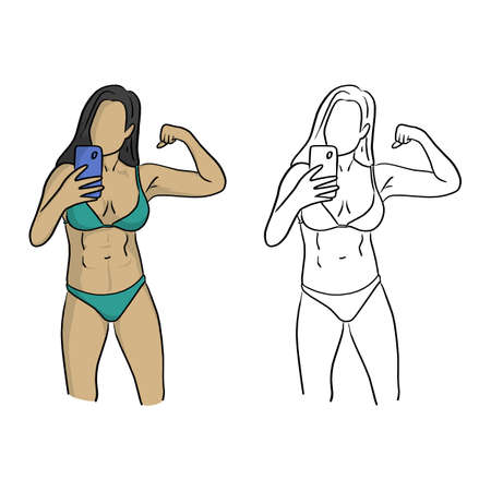 healthy woman with bikini taking selfie vector illustration sketch doodle hand drawn with black lines isolated on white background