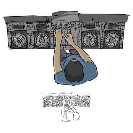 Top view hip hop DJ scratches turntables vector illustration sketch doodle hand drawn with black lines isolated on white background Illustration