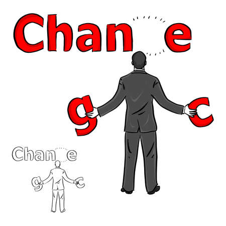 businessman choosing the red word between change and chance vector illustration sketch doodle hand drawn with black lines isolated on white background