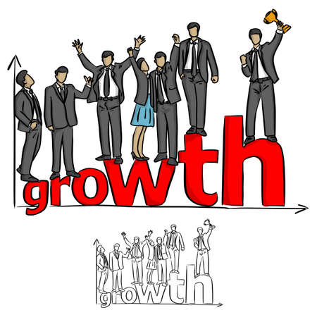 businesspeople team standing on the red word growth on the graph vector illustration sketch doodle hand drawn with black lines isolated on white background