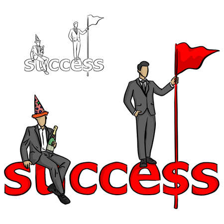 two businessmen with champagne and red flag on their hands stand and sit on the word success vector illustration sketch doodle hand drawn with black lines isolated on white background Illustration