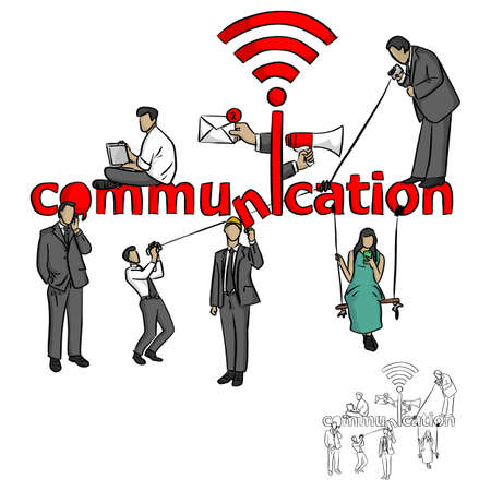 people with communication concept vector illustration sketch doodle hand drawn with black lines isolated on white background