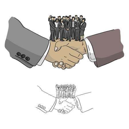 business team standing on big hands shaking vector illustration sketch doodle hand drawn with black lines isolated on white background