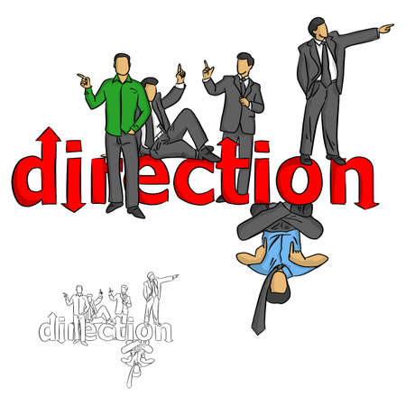 five businessmen pointing on the red word direction vector illustration sketch doodle hand drawn with black lines isolated on white background Illustration