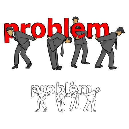 businessmen helping each other to carry the red word problem vector illustration sketch doodle hand drawn with black lines isolated on white background. Teamwork business concept.