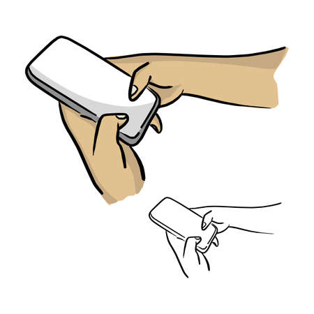 close-up hand using mobile phone vector illustration sketch doodle hand drawn with black lines isolated on white background Illustration