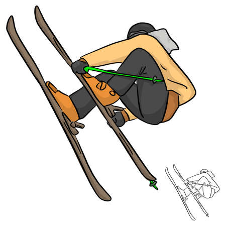 Skier jumping vector illustration sketch doodle hand drawn with black lines isolated on white background