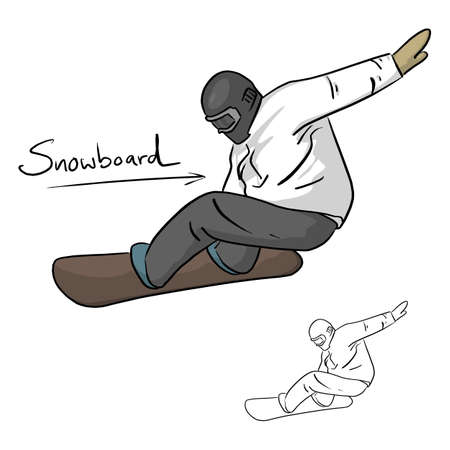 Snowboarder jumping through air vector illustration sketch doodle hand drawn with black lines isolated on white background Illustration